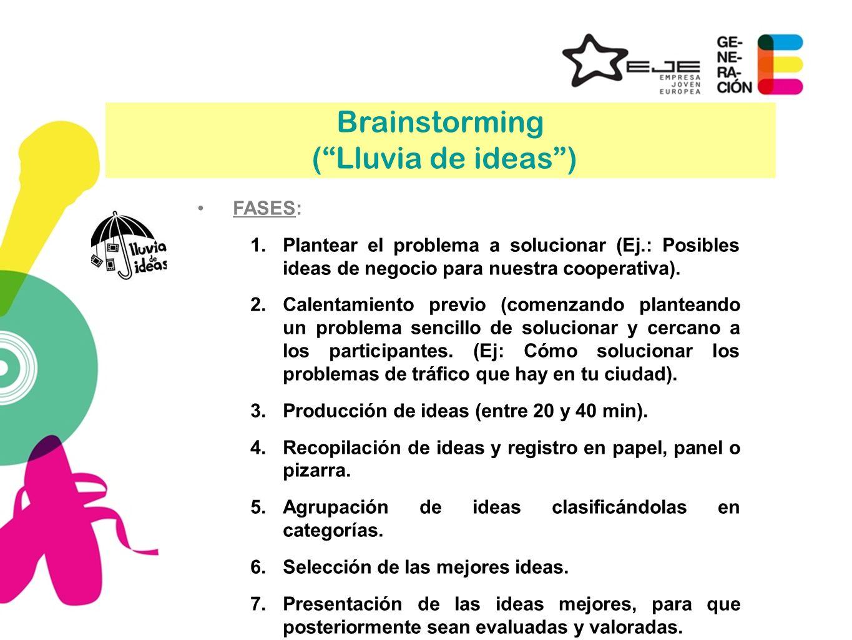 Brainstorming ( Lluvia de ideas ) FASES: