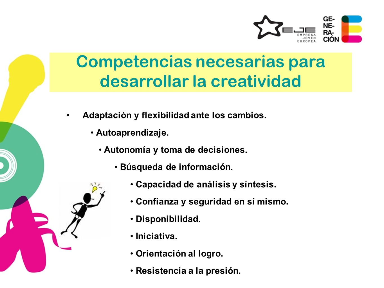 Competencias necesarias para desarrollar la creatividad