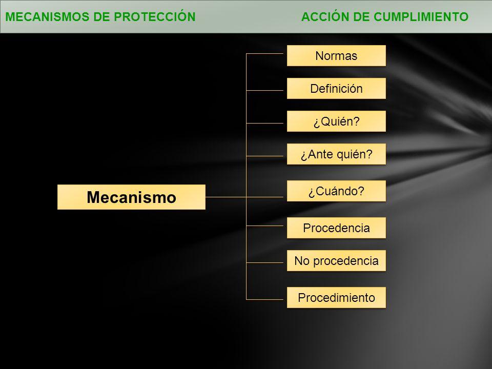 Mecanismo MECANISMOS DE PROTECCIÓN ACCIÓN DE CUMPLIMIENTO Normas