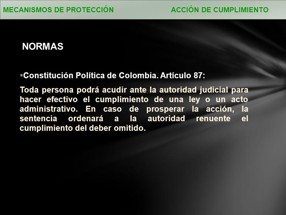 NORMAS Constitución Política de Colombia. Artículo 87: