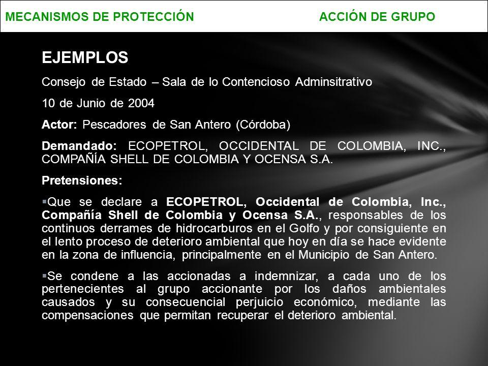 EJEMPLOS MECANISMOS DE PROTECCIÓN ACCIÓN DE GRUPO