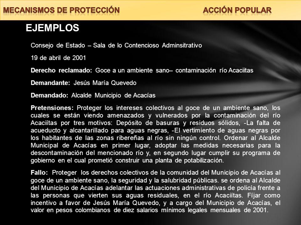 EJEMPLOS MECANISMOS DE PROTECCIÓN ACCIÓN POPULAR