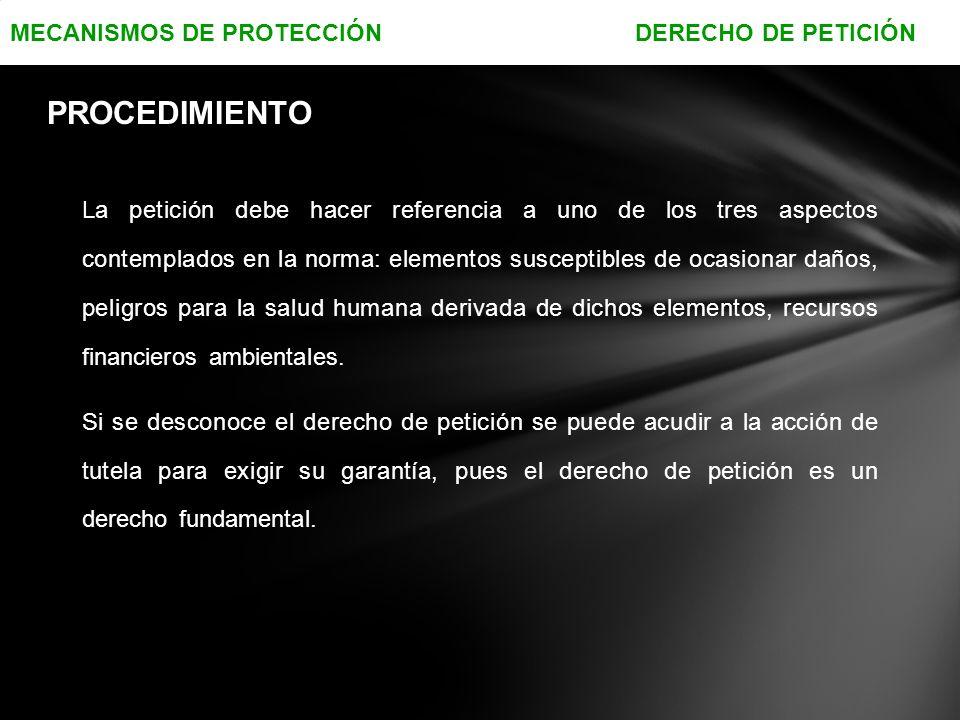 PROCEDIMIENTO MECANISMOS DE PROTECCIÓN DERECHO DE PETICIÓN