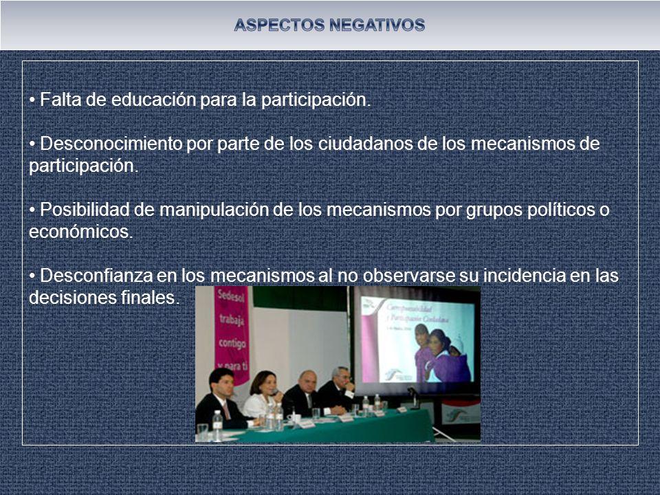 Falta de educación para la participación.