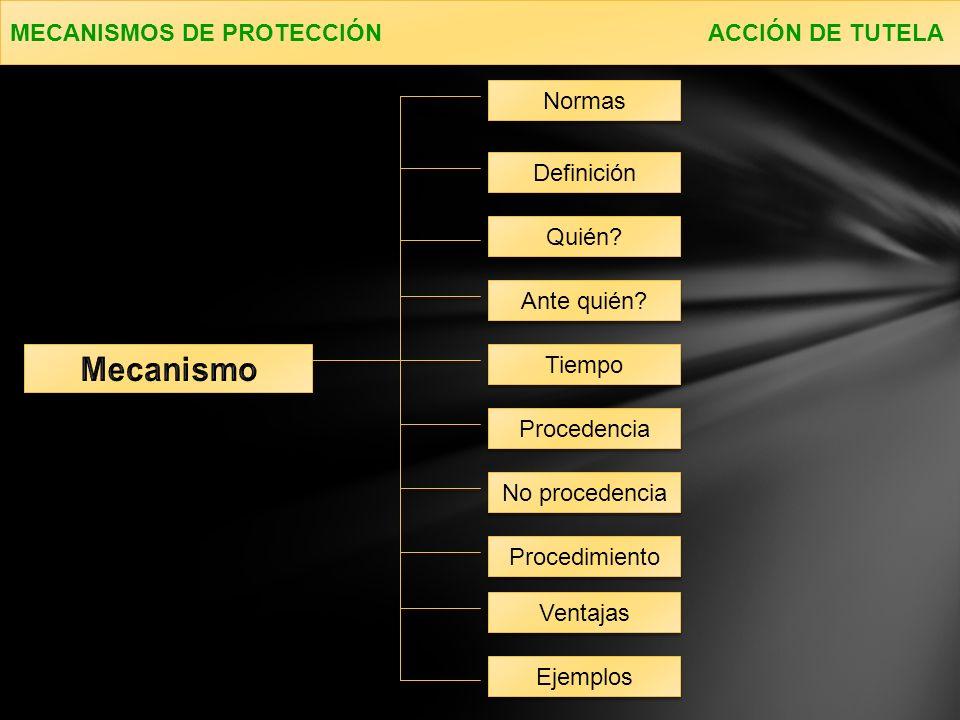 Mecanismo MECANISMOS DE PROTECCIÓN ACCIÓN DE TUTELA Normas Definición