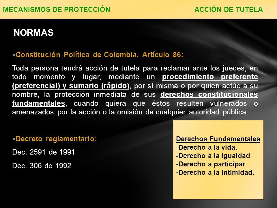 NORMAS Constitución Política de Colombia. Artículo 86: