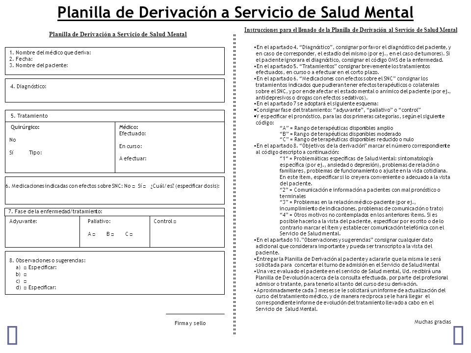 Planilla de Derivación a Servicio de Salud Mental