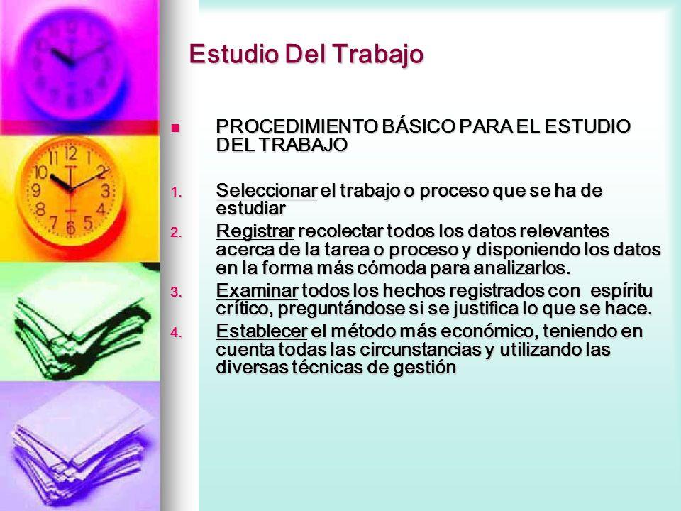 Estudio Del Trabajo PROCEDIMIENTO BÁSICO PARA EL ESTUDIO DEL TRABAJO
