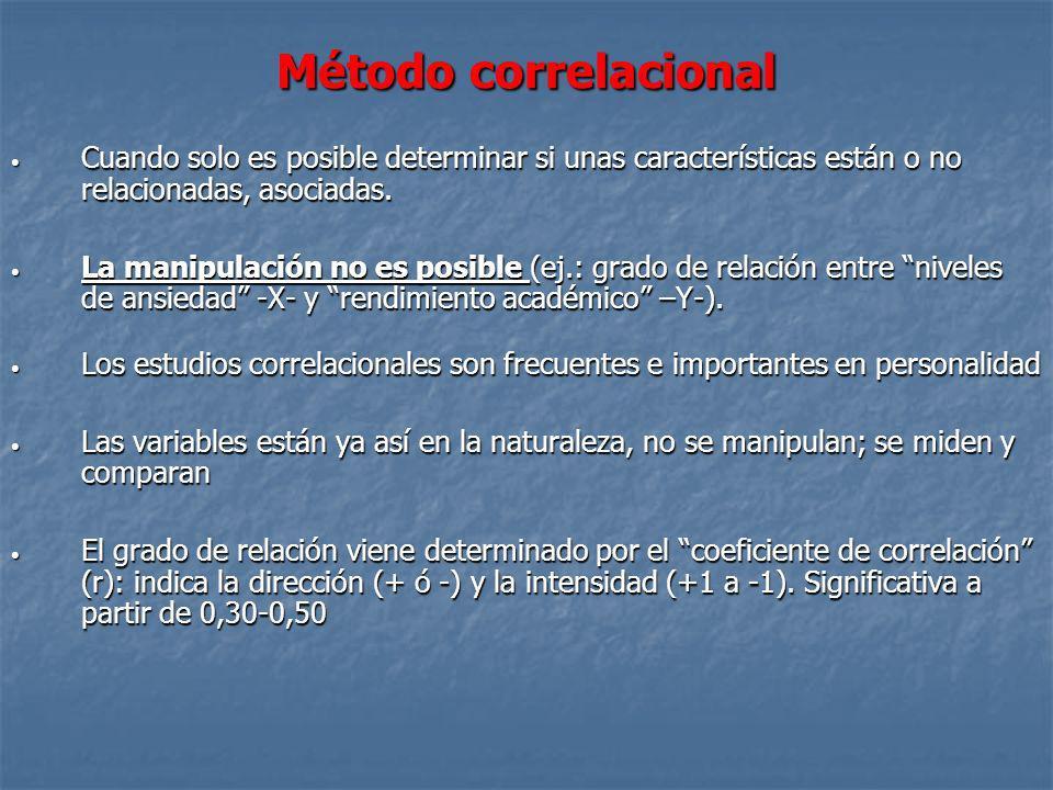 Método correlacionalCuando solo es posible determinar si unas características están o no relacionadas, asociadas.