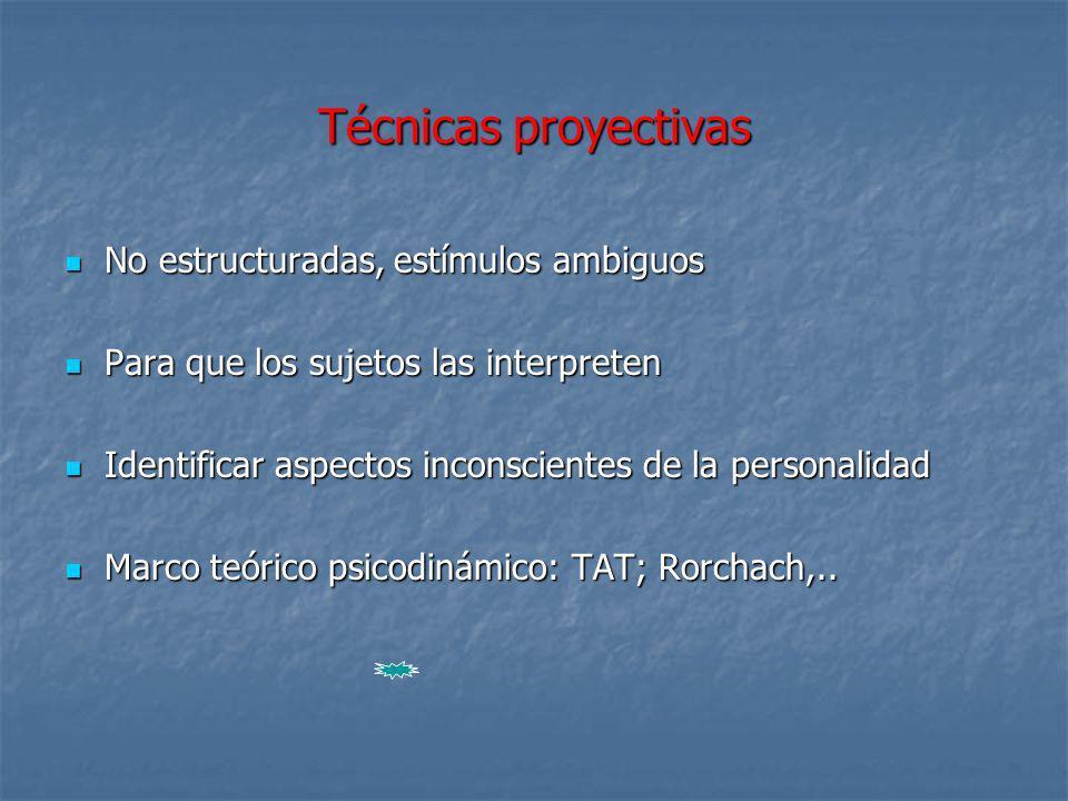 Técnicas proyectivas No estructuradas, estímulos ambiguos
