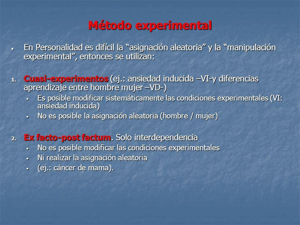 Método experimental En Personalidad es difícil la asignación aleatoria y la manipulación experimental , entonces se utilizan: