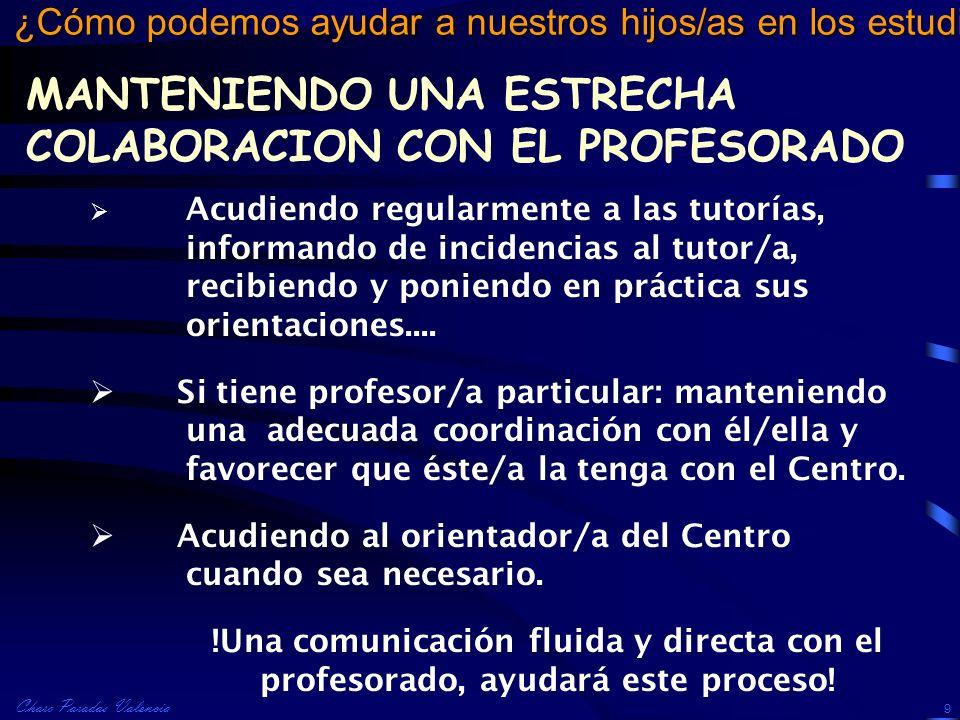 MANTENIENDO UNA ESTRECHA COLABORACION CON EL PROFESORADO