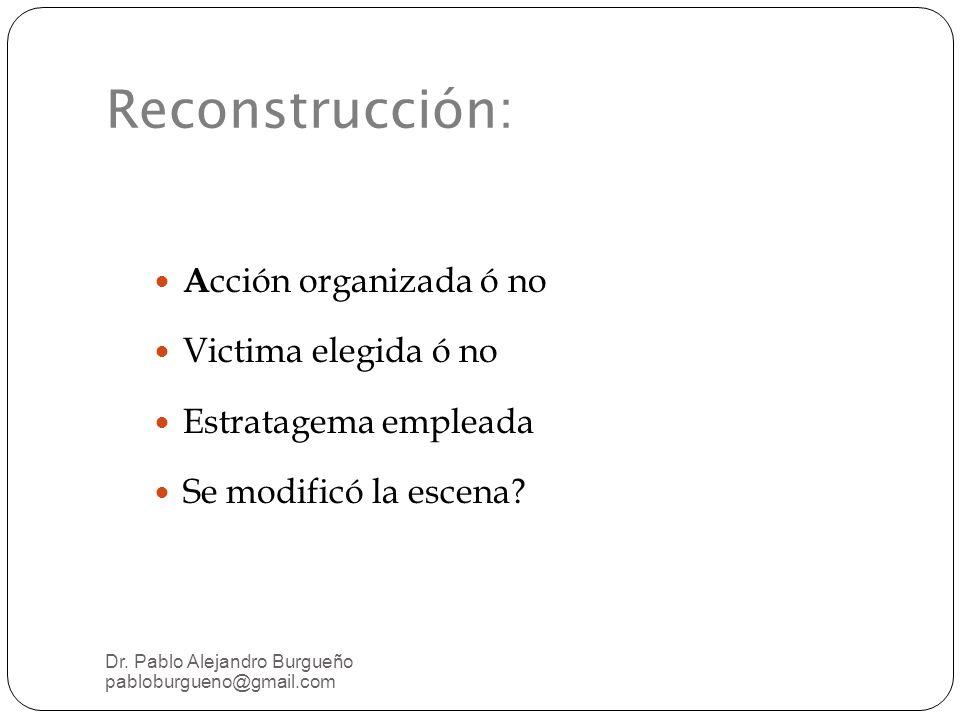 Reconstrucción: Acción organizada ó no Victima elegida ó no