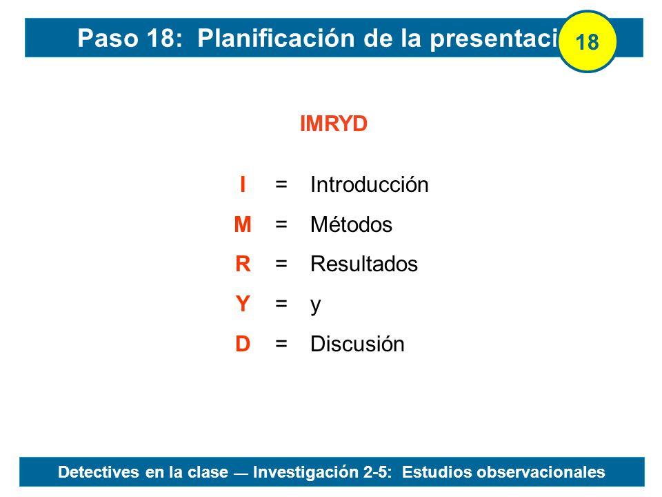 Paso 18: Planificación de la presentación