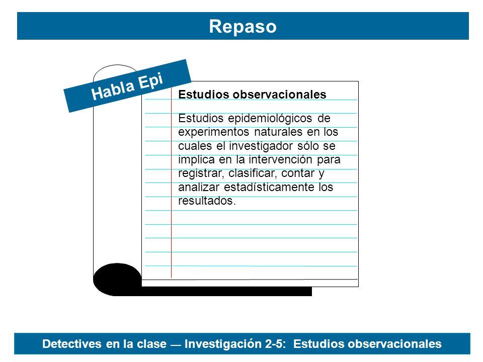 Detectives en la clase — Investigación 2-5: Estudios observacionales