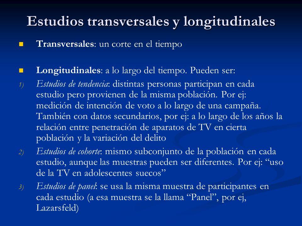 Estudios transversales y longitudinales
