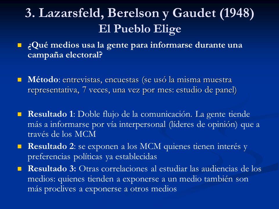 3. Lazarsfeld, Berelson y Gaudet (1948) El Pueblo Elige