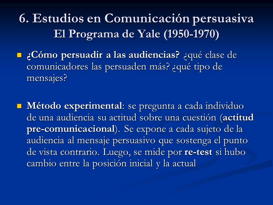 6. Estudios en Comunicación persuasiva El Programa de Yale (1950-1970)