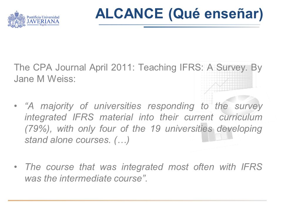 ALCANCE (Qué enseñar) The CPA Journal April 2011: Teaching IFRS: A Survey. By Jane M Weiss: