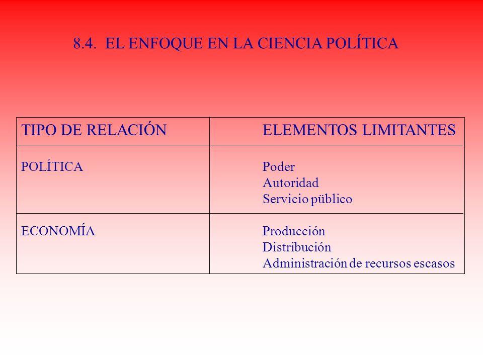 8.4. EL ENFOQUE EN LA CIENCIA POLÍTICA
