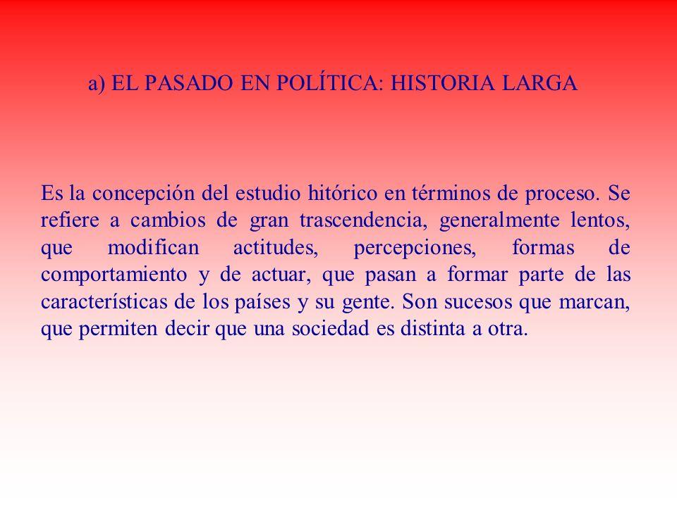 a) EL PASADO EN POLÍTICA: HISTORIA LARGA