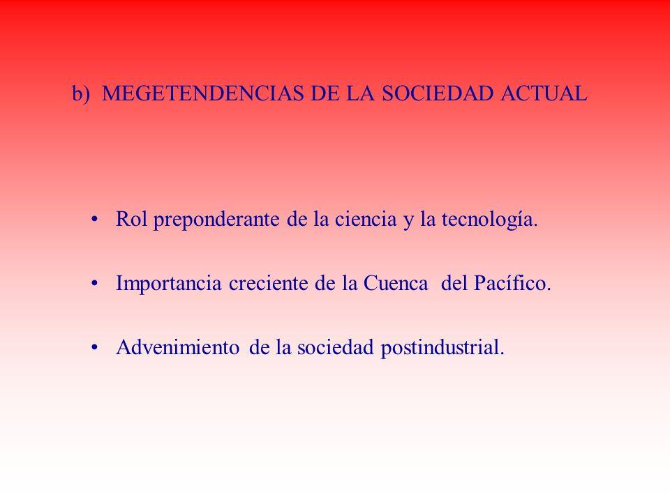 b) MEGETENDENCIAS DE LA SOCIEDAD ACTUAL