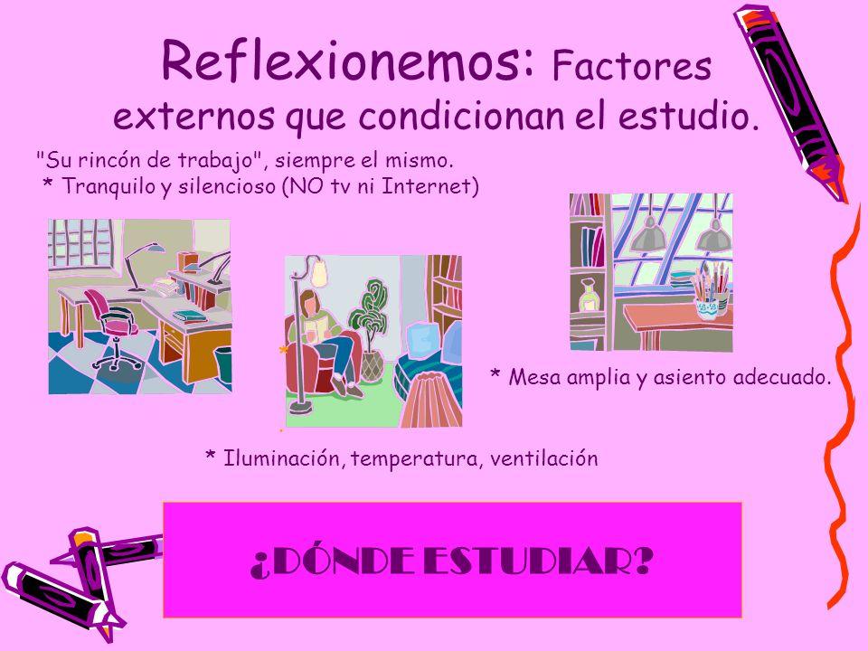 Reflexionemos: Factores externos que condicionan el estudio.