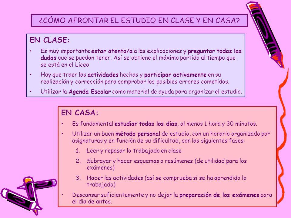 ¿CÓMO AFRONTAR EL ESTUDIO EN CLASE Y EN CASA