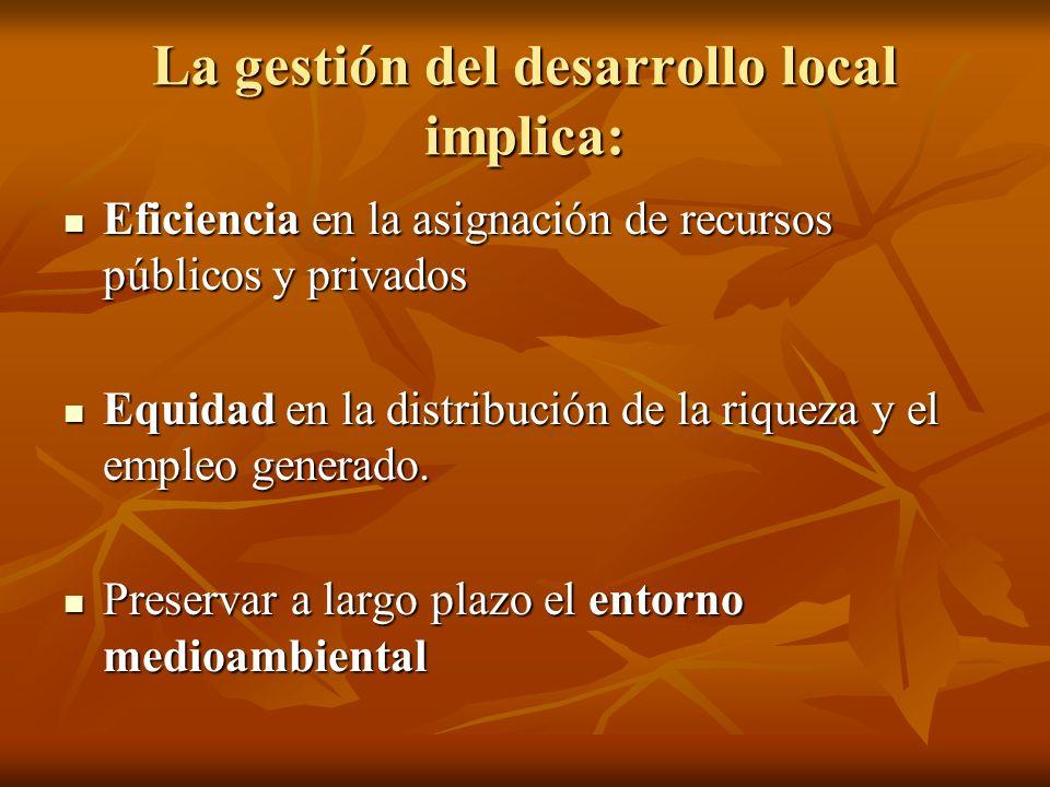La gestión del desarrollo local implica:
