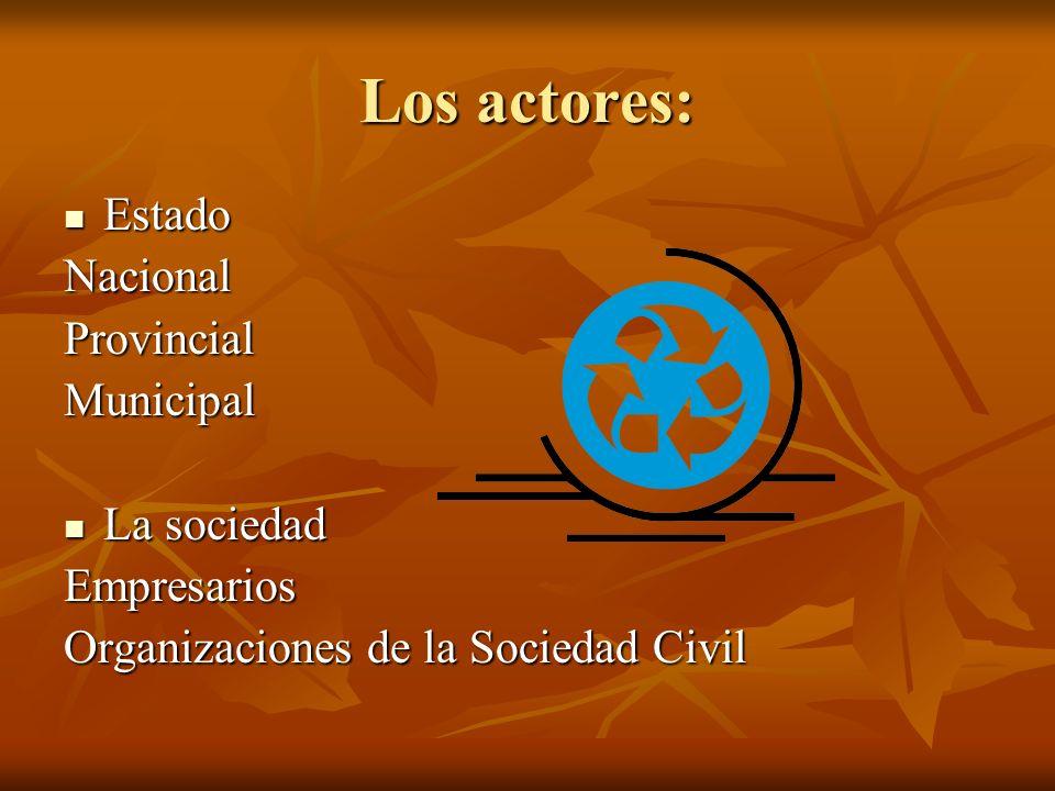 Los actores: Estado Nacional Provincial Municipal La sociedad