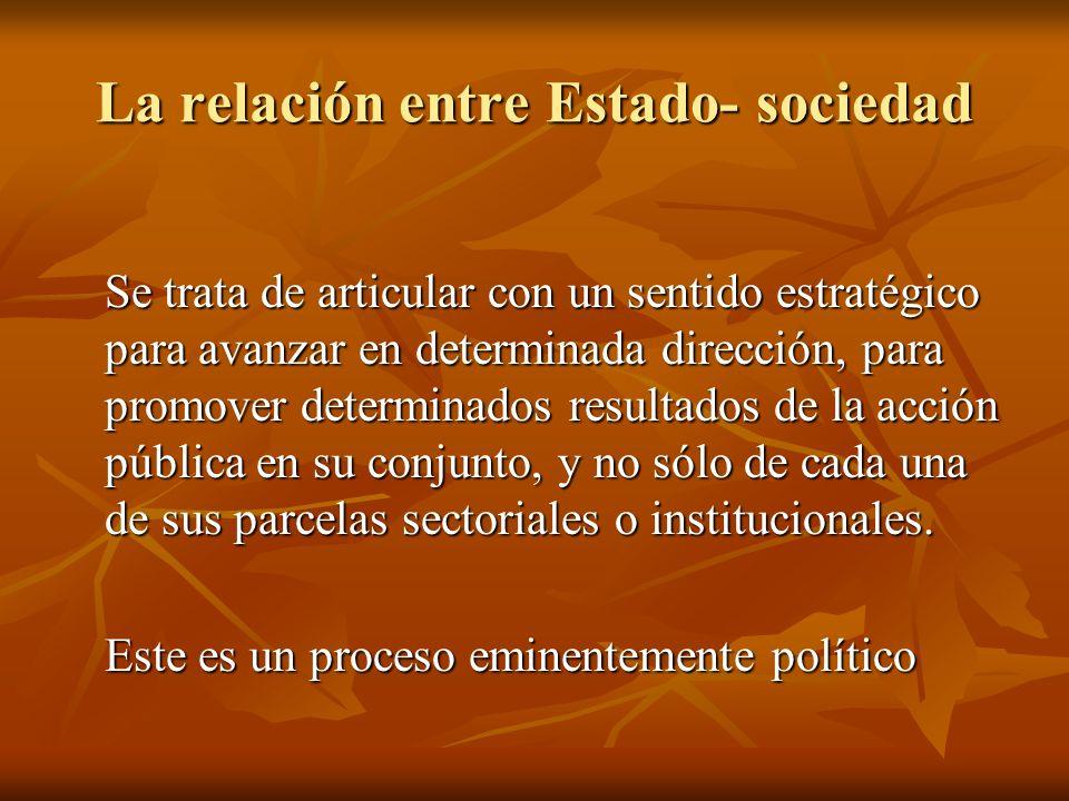 La relación entre Estado- sociedad