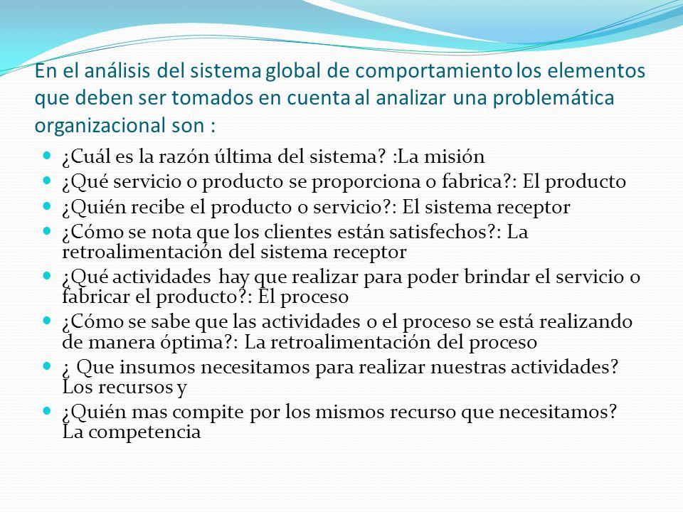 En el análisis del sistema global de comportamiento los elementos que deben ser tomados en cuenta al analizar una problemática organizacional son :