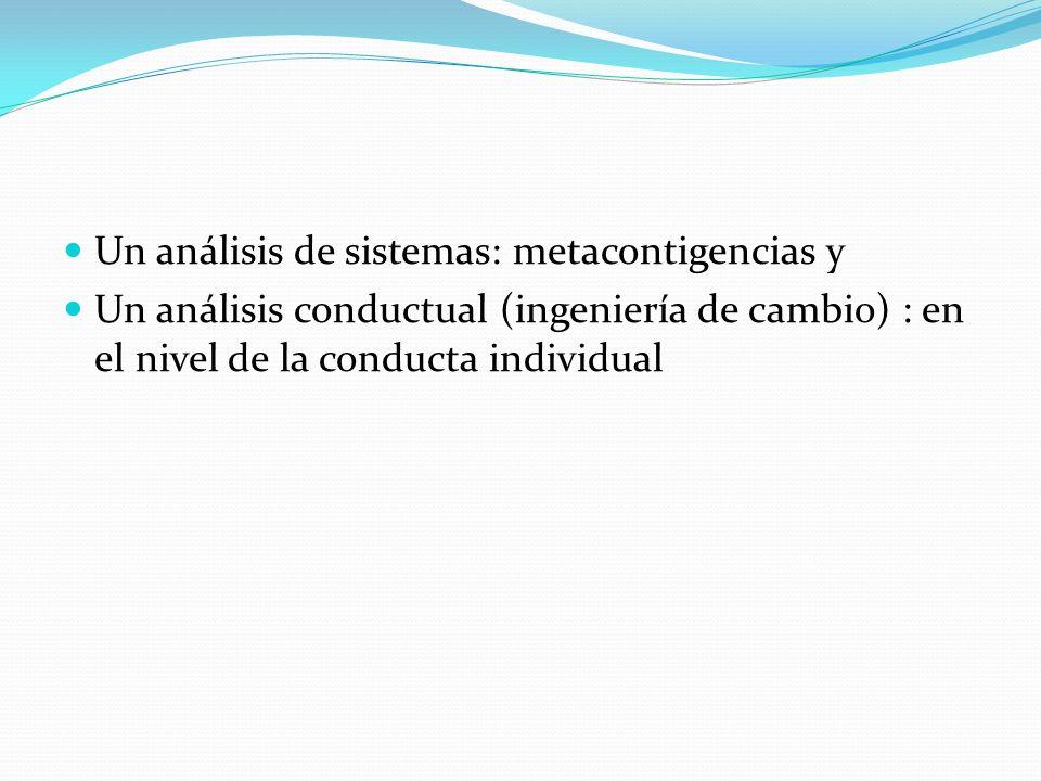 Un análisis de sistemas: metacontigencias y
