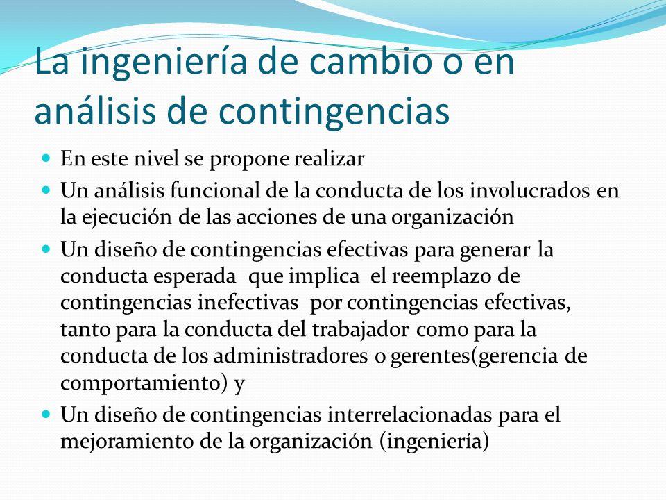 La ingeniería de cambio o en análisis de contingencias