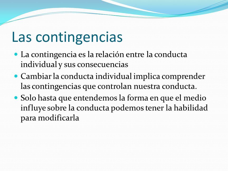 Las contingencias La contingencia es la relación entre la conducta individual y sus consecuencias.