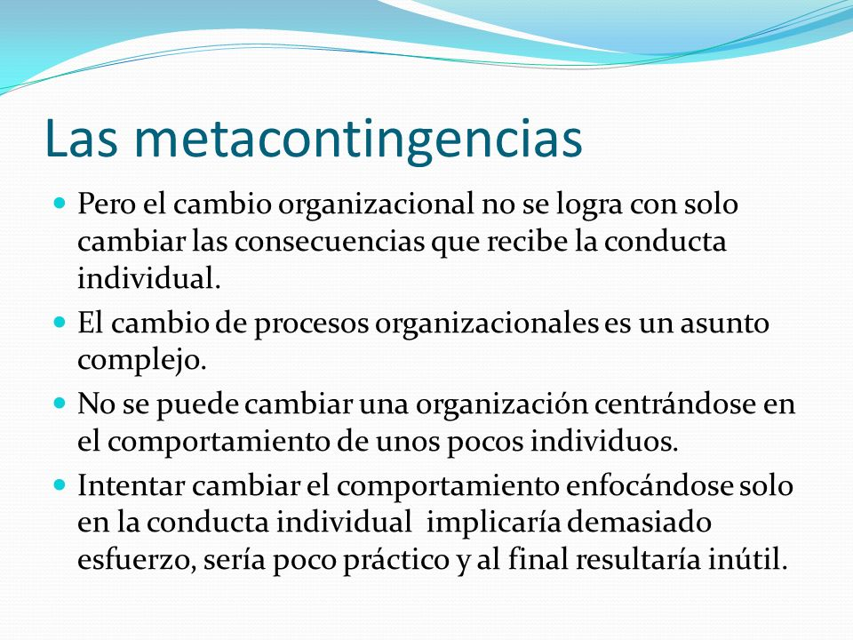 Las metacontingencias