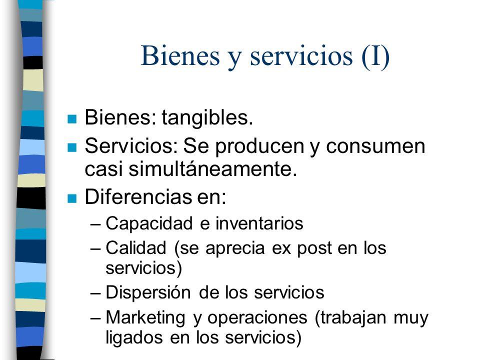 Bienes y servicios (I) Bienes: tangibles.