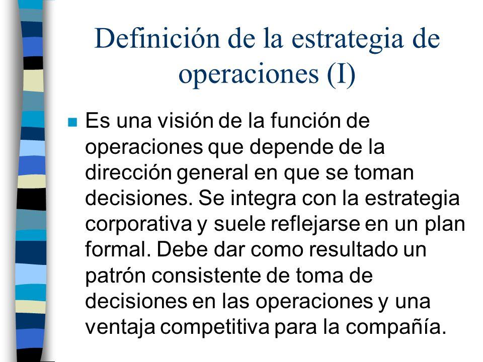 Definición de la estrategia de operaciones (I)