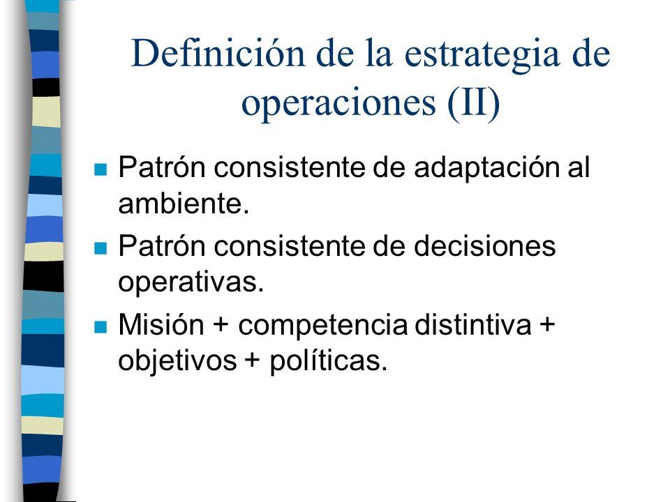Definición de la estrategia de operaciones (II)