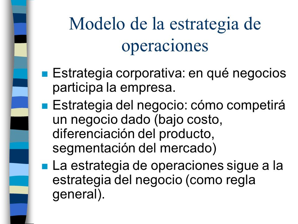 Modelo de la estrategia de operaciones