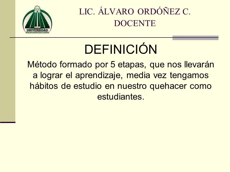 LIC. ÁLVARO ORDÓÑEZ C. DOCENTE