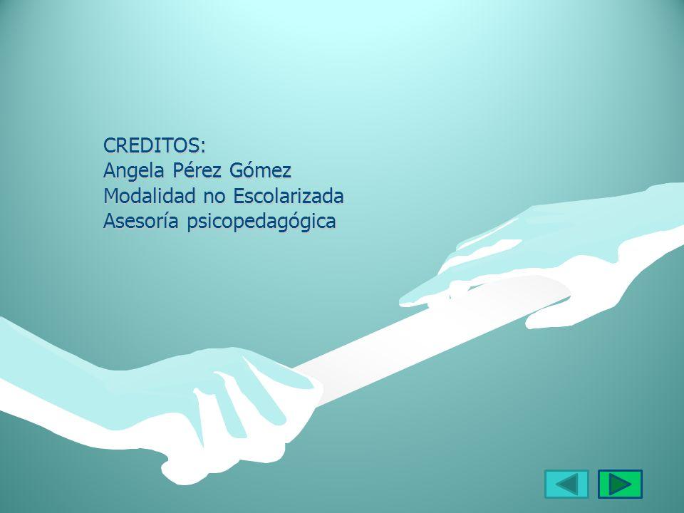 CREDITOS: Angela Pérez Gómez Modalidad no Escolarizada Asesoría psicopedagógica