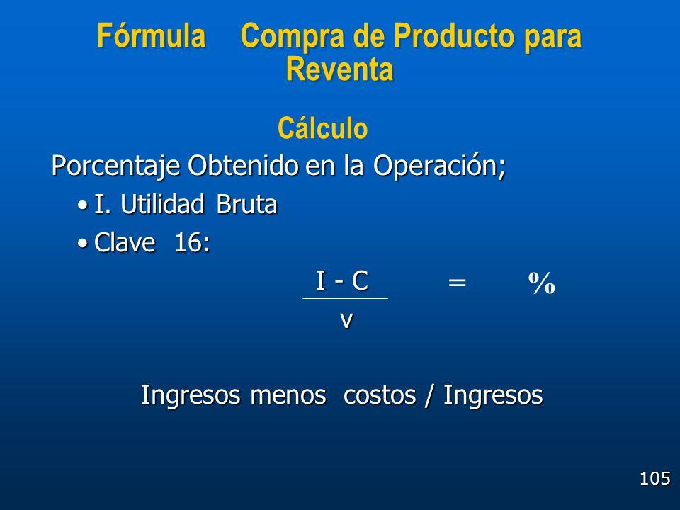 Fórmula Compra de Producto para Reventa