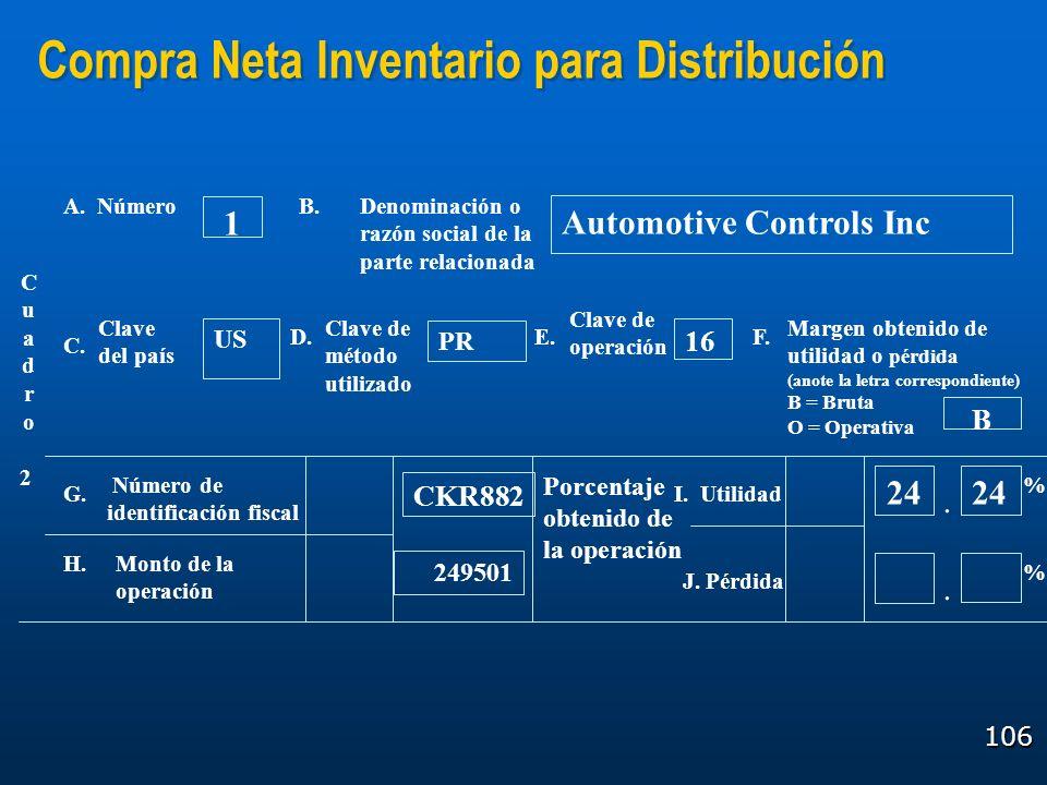 Compra Neta Inventario para Distribución