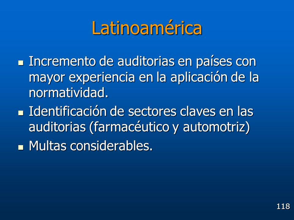Latinoamérica Incremento de auditorias en países con mayor experiencia en la aplicación de la normatividad.