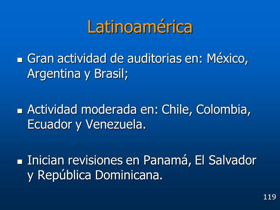 Latinoamérica Gran actividad de auditorias en: México, Argentina y Brasil; Actividad moderada en: Chile, Colombia, Ecuador y Venezuela.
