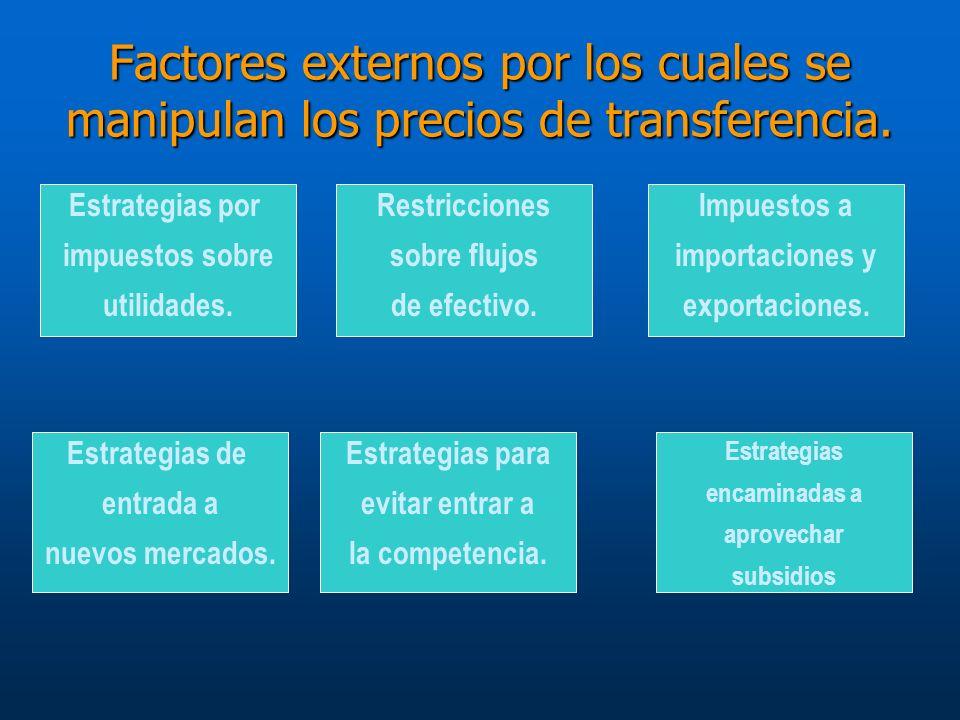 Factores externos por los cuales se manipulan los precios de transferencia.