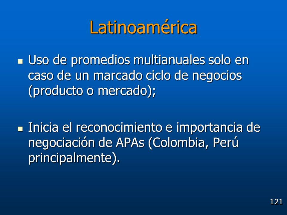 Latinoamérica Uso de promedios multianuales solo en caso de un marcado ciclo de negocios (producto o mercado);