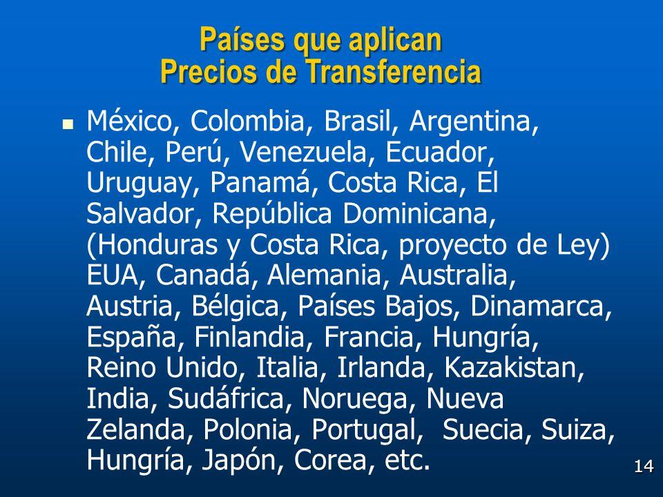 Países que aplican Precios de Transferencia
