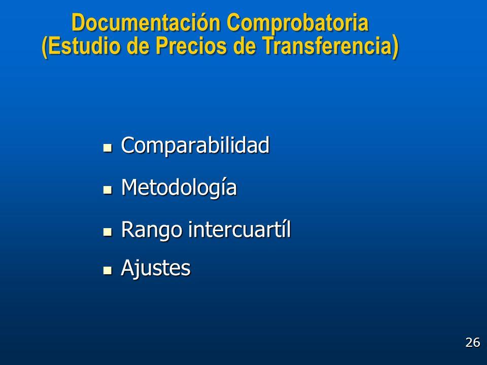 Documentación Comprobatoria (Estudio de Precios de Transferencia)